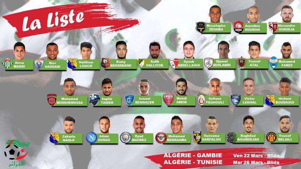 BELMADI CONVOQUE 26 JOUEURS POUR LES MATCHS DE LA GAMBIE ET DE LA TUNISIE