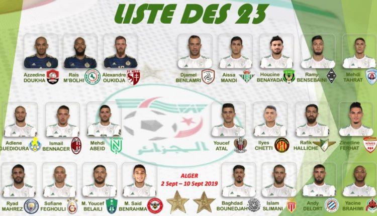 ALGERIE – BENIN EN AMICAL :  LES 23 JOUEURS CONVOQUES